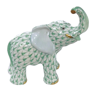 Herend Porcelain Fishnet Figurine Of A Baby Elephant
