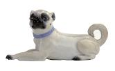 Meissen Porcelain Dog Figurine - Pug Laying Down