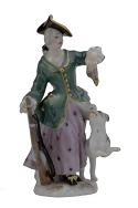 Meissen Porcelain Figurine - Woman with Dog