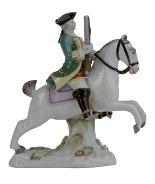 Meissen Porcelain Figurine - Man on Horse, Dark Green Coat