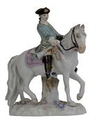 Meissen Porcelain Figurine - Man on Horse, Light Green Coat