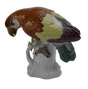 Meissen Porcelain Bird Figurine - Parrot Red