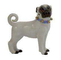Meissen Porcelain Dog Figurine - Pug Dog with Bells