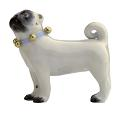 Meissen Porcelain Dog Figurine - Pug Dog with Bells l