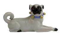 Meissen Porcelain Dog Figurine - Pug Laying Down with Bells