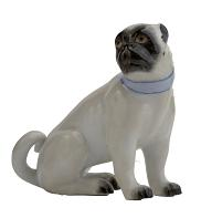 Meissen Porcelain Dog Figurine - Pug Looking Right