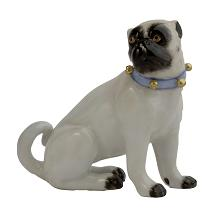 Meissen Porcelain Dog Figurine - Pug Looking Right with Bells