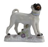 Meissen Porcelain Dog Figurine - Pug on Stand