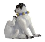 Meissen Porcelain Dog Figurine - Pug Scratching with Bells