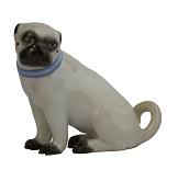 Meissen Porcelain Dog Figurine - Pug Sitting
