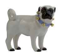 Meissen Porcelain Dog Figurine - Pug Standing with Bells